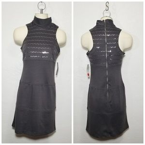 ALYN PAIGE Grey Fitted Sequin Dress
